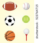 vector sports equipment... | Shutterstock .eps vector #523764715