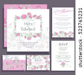 set of wedding cards with roses.... | Shutterstock .eps vector #523765231