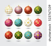 set of color christmas balls.... | Shutterstock .eps vector #523767109