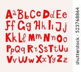 doodle alphabet letters.... | Shutterstock .eps vector #523768864