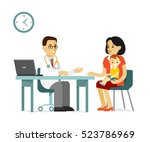medicine concept with doctor... | Shutterstock .eps vector #523786969