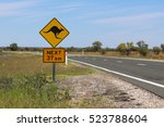 kangaroo warning sign on the... | Shutterstock . vector #523788604