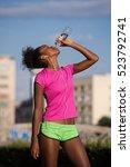 young beautiful african... | Shutterstock . vector #523792741
