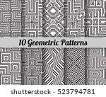 set of 10 geometric patterns.... | Shutterstock .eps vector #523794781