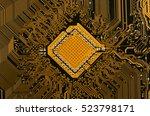 circuit board golden | Shutterstock . vector #523798171