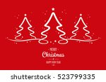 christmas trees stars red... | Shutterstock .eps vector #523799335