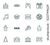 set of 16 new year icons. can... | Shutterstock .eps vector #523799629