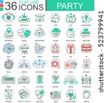 vector party club color flat... | Shutterstock .eps vector #523799941
