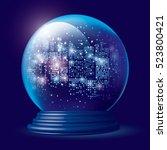 christmas snow globe. city... | Shutterstock .eps vector #523800421