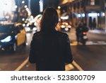 hipster girl in black leather... | Shutterstock . vector #523800709