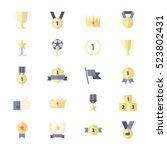 award and trophy icons  ribbon...   Shutterstock .eps vector #523802431