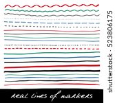 hand lines   real markers.... | Shutterstock .eps vector #523806175