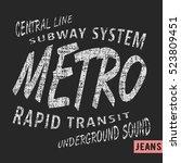 t shirt print design. metro... | Shutterstock .eps vector #523809451