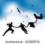 Happy Friends Fly In Sky  Blac...