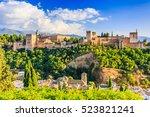 alhambra of granada  spain.... | Shutterstock . vector #523821241