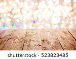old empty table with christmas... | Shutterstock . vector #523823485