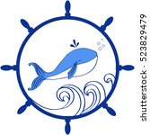 Blue Whale  Wave Cartoon...