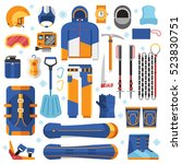 freeride snowboard gear and... | Shutterstock .eps vector #523830751