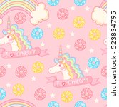 magic pattern with unicorn ... | Shutterstock .eps vector #523834795