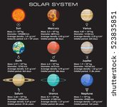 objects of solar system. their... | Shutterstock .eps vector #523835851