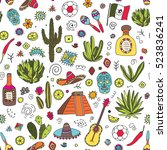 doodles seamless pattern of... | Shutterstock .eps vector #523836241