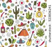 doodles seamless pattern of... | Shutterstock .eps vector #523836241
