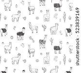 lama vector line pattern | Shutterstock .eps vector #523839169