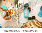 close up view of menorah on... | Shutterstock . vector #523839211
