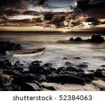 A storm strikes the coast - stock photo