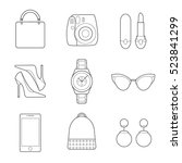 set of simple fashion line art... | Shutterstock .eps vector #523841299
