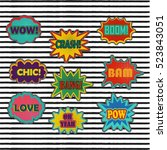 comic patch sound effects in... | Shutterstock .eps vector #523843051