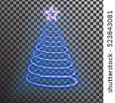 blue neon christmas tree. light ...   Shutterstock .eps vector #523843081