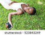 portrait of a beautiful african ...   Shutterstock . vector #523843249