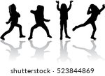 vector silhouette of children... | Shutterstock .eps vector #523844869