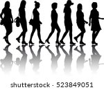group of women. crowd of people ... | Shutterstock .eps vector #523849051