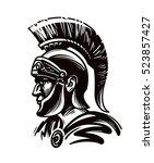spartan warrior  gladiator or... | Shutterstock .eps vector #523857427