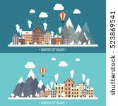 vector illustration. winter... | Shutterstock .eps vector #523869541