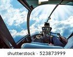 helicopter cockpit flies in san ... | Shutterstock . vector #523873999