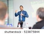 businessman making a... | Shutterstock . vector #523875844