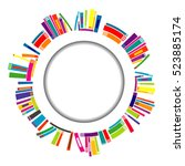 round frame with stylized books | Shutterstock .eps vector #523885174