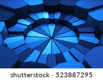 Abstract 3d rendering illustration. Circular background. Randomly choped geometry. Fractured extrudable surface.