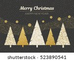 vector merry christmas and... | Shutterstock .eps vector #523890541