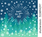 happy new year 2017 greeting... | Shutterstock .eps vector #523894297