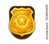 gold realistic police ... | Shutterstock . vector #523894405