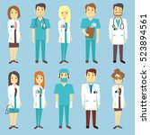 doctors nurses medical staff... | Shutterstock . vector #523894561