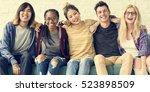diversity students friends... | Shutterstock . vector #523898509