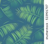 seamless pattern with tropical... | Shutterstock .eps vector #523901707