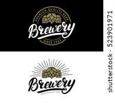 set of brewery hand written... | Shutterstock .eps vector #523901971