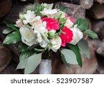 wedding bouquet of roses ... | Shutterstock . vector #523907587