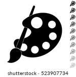 pallete and paintbrush   black... | Shutterstock .eps vector #523907734